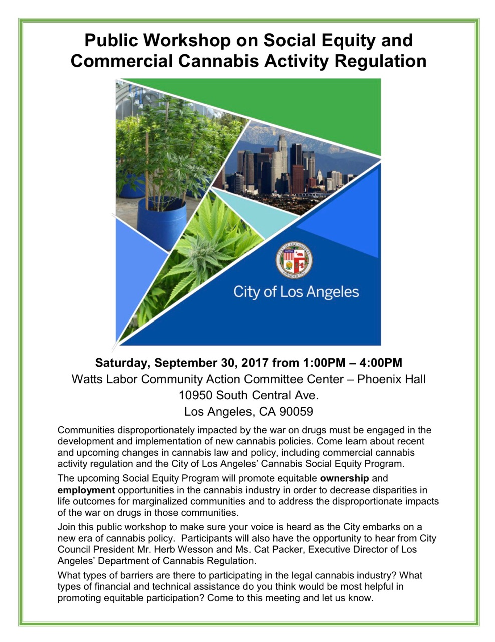 Public Workshop on Social Equity and Commercial Cannabis Activity Regulation