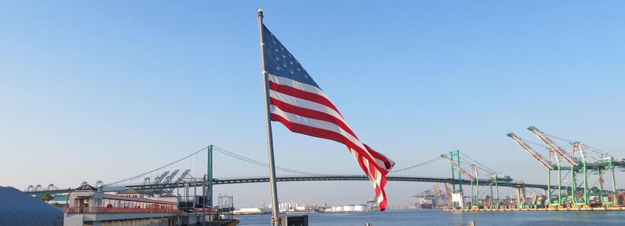 Flag on USS Iowa and Vincent Thomas Bridge, Marlene B