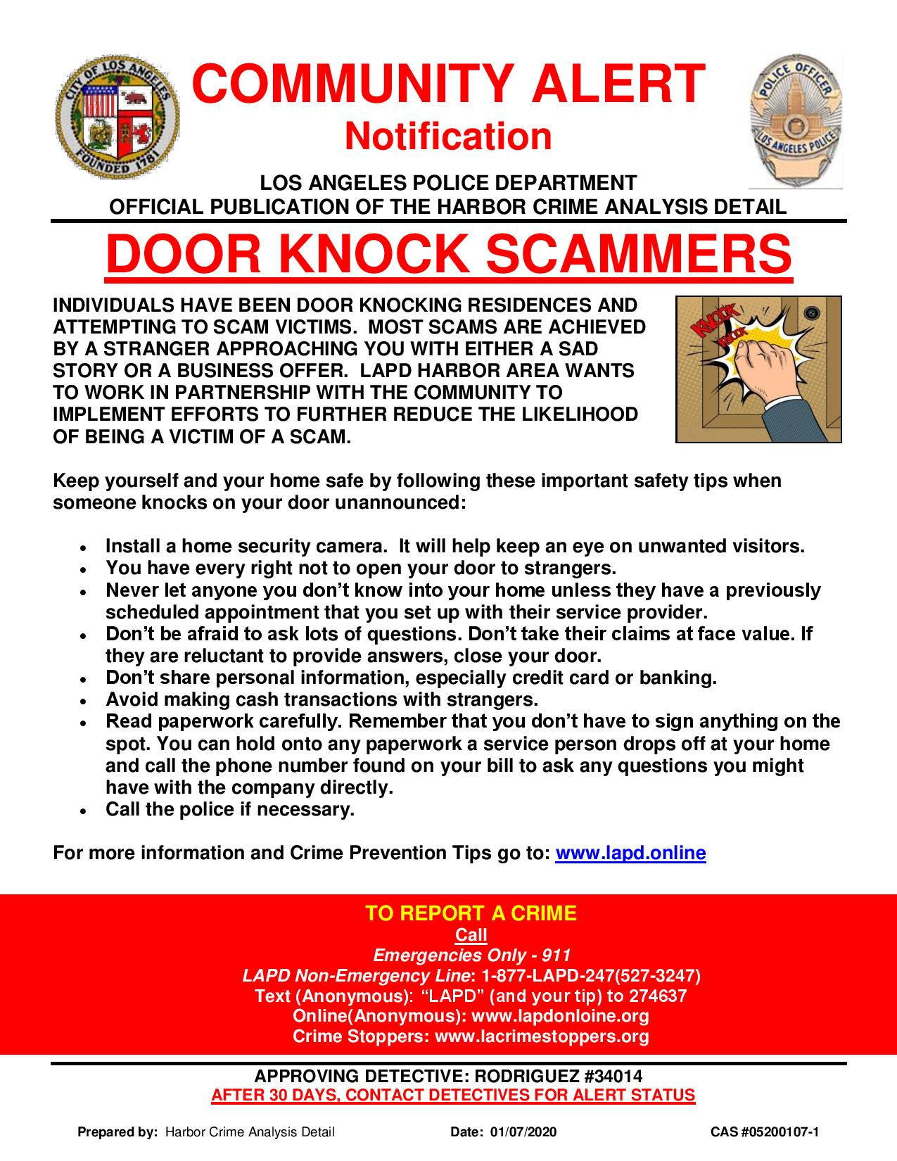 Community Alert:  Door Knock Scammers