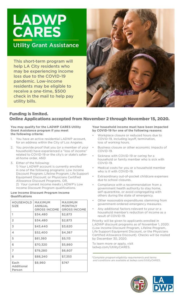 LADWP Utility Grant Assistance – Apply by Nov. 22