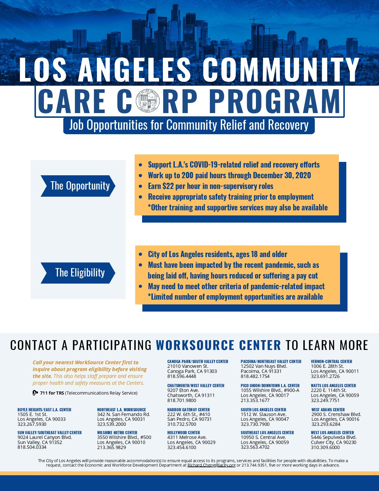 Job Opportunities for Community Relief and Recovery