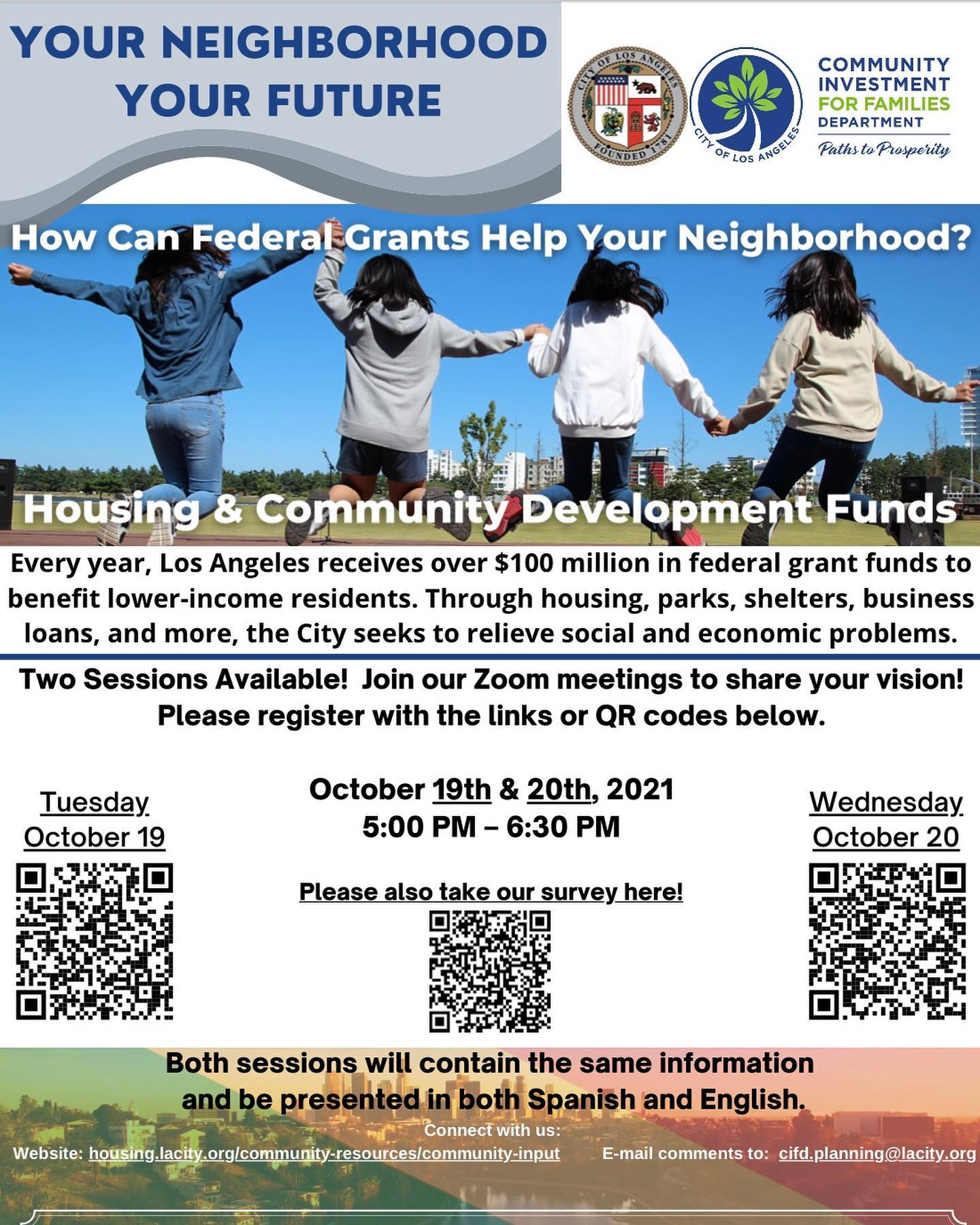 Virtual Public Meeting Oct 19 & 20.  How Can Federal Grants Help Your Neighborhood?